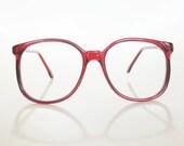 Vintage CRANBERRY Round Eyeglasses Red Clear 1980s 80s Eighties INDIE Hipster Blood Deep Womens Ladies