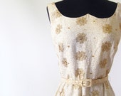 Vintage 1960s MAD MEN Cocktail Dress Wiggle 1960s 60s Small Extra Xs S GOLD Metallic Shiny Mid Century