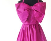 Vintage 1960s Gown Full Length Bow Magenta Medium Large M L I Magnin Mid Century Mod 60s Sixties Purple Full Length Formal