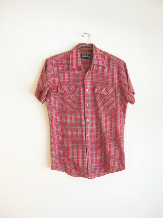 SALE Vintage LUMBERJACK Men's Plaid Red Short Sleeved Shirt Top 1960s Tartan MAD Men Indie