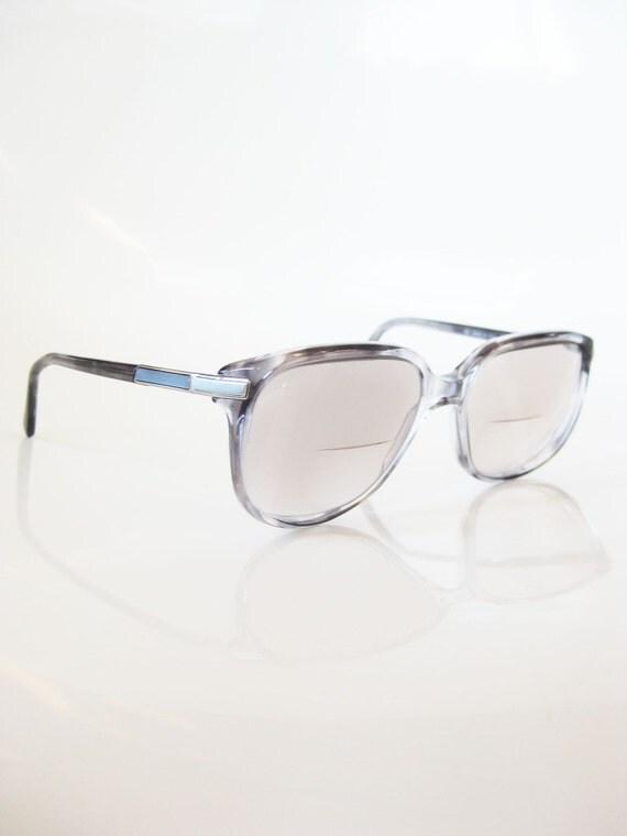 vintage italian luxottica eyeglasses grey fade tortoise