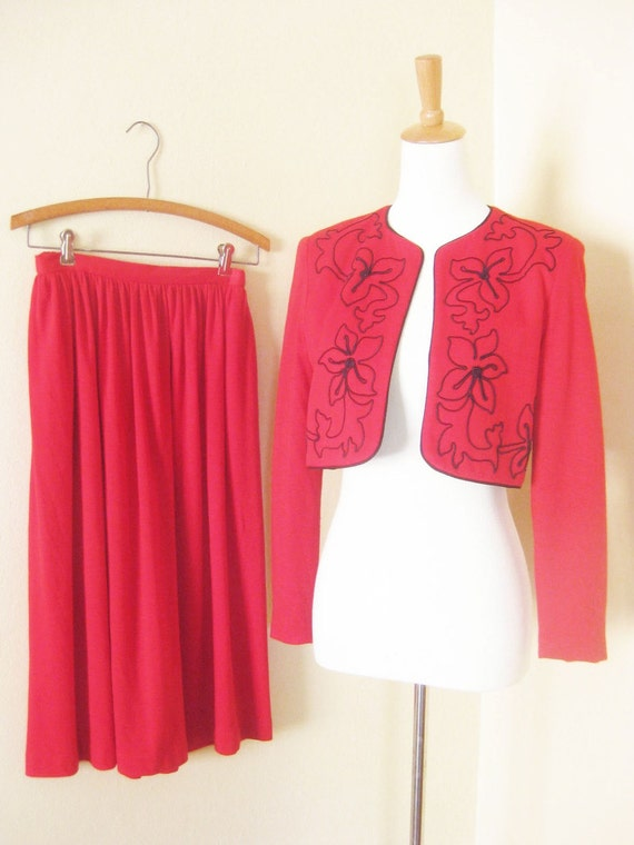 Vintage NR1 Bolero and Swing Skirt Set S M Bright CRIMSON Red Pleats 1980s 80s Glam Indie