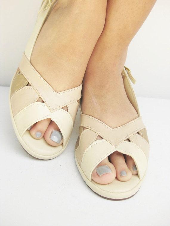 Vintage MAD MEN Peep Toe 7 Half 8 M Sandals Rose CREAM White Colorblock 1970s Indie 5 6 38 Slingback