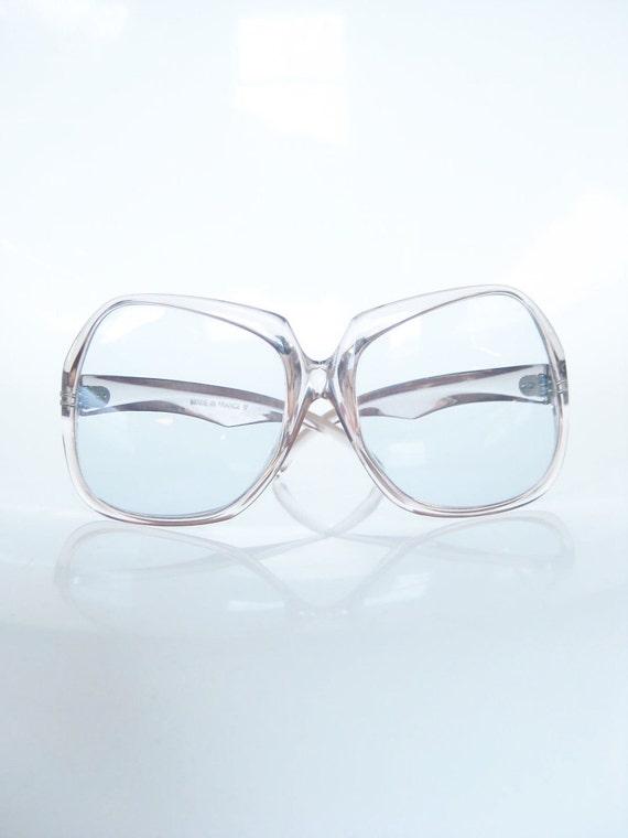 Vintage 1970s Glasses / Light Pink Eyeglasses 70s / Oversized LARGE Salmon INDIE Hipster Seventies