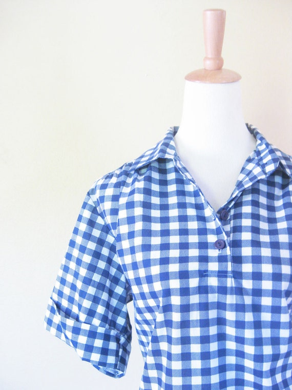1960s Womens Blouse // 60s ROCKABILLY Check Shirt // Ladies