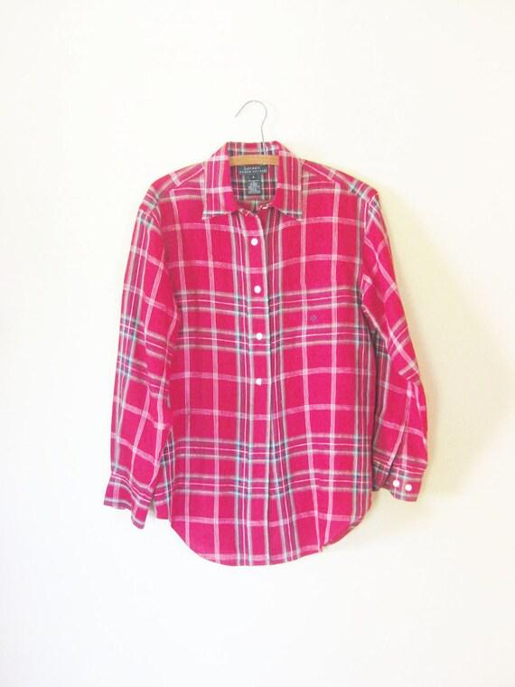 Vintage 1980s TARTAN Shirt // 80s Plaid Blouse // Ladies Womens Medium 8 Indie HIPSTER Grunge Top