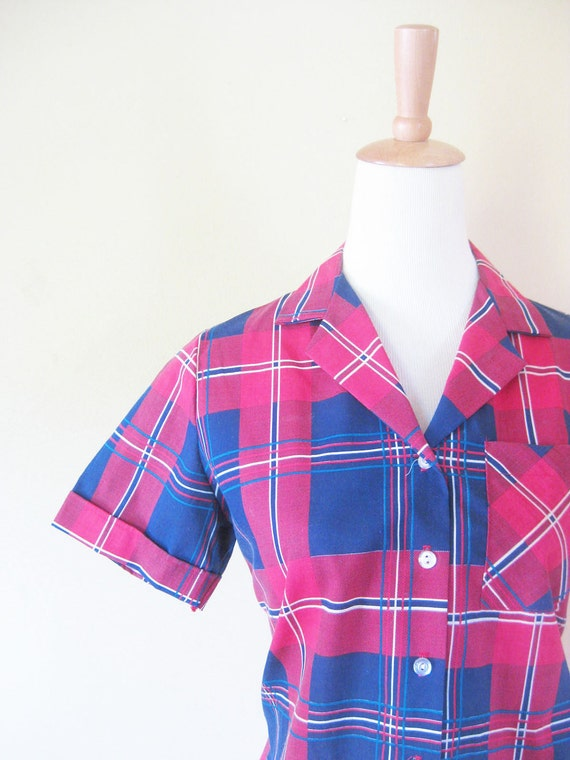 Vintage 1960s Blouse // 60s PLAID Shirt // Indie HIPSTER Womens Shirt Small Medium S M Tartan Blue and Red