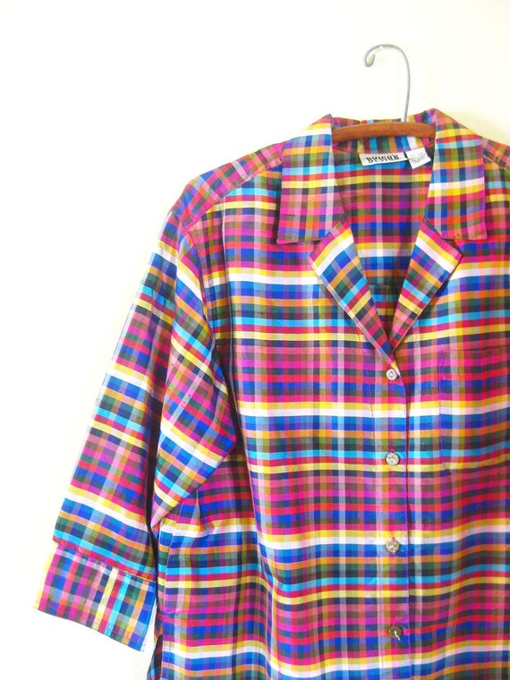 SALE Vintage SILK Blouse // 1980s Shirt Top // Plaid RAINBOW Small Medium S M Blue Red Yellow Check