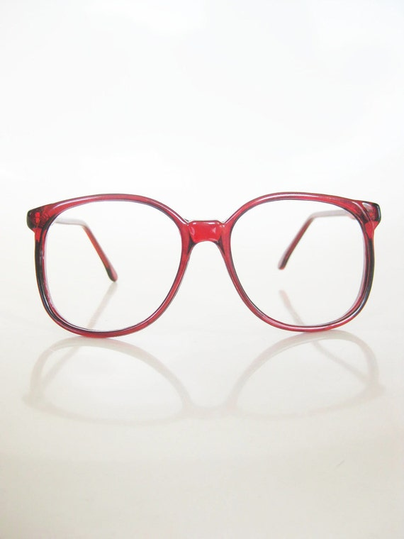 Vintage CRANBERRY Round Eyeglasses Red Clear 1980s 80s Eighties INDIE Hipster Blood Deep Womens Ladies