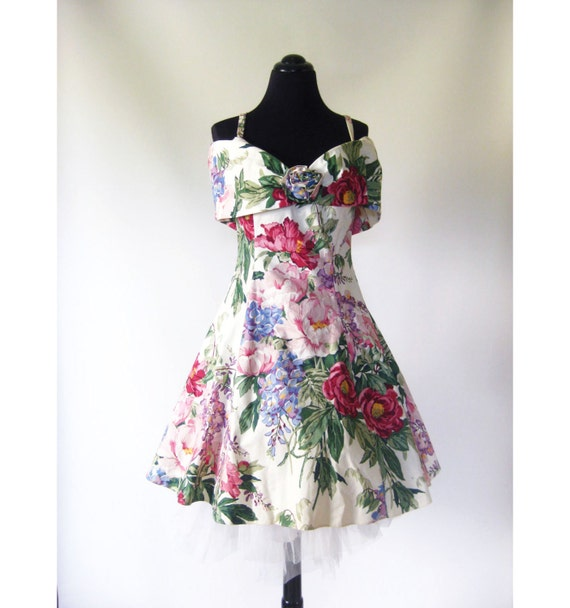 Vintage 1980s LOLITA Prom Formal Dress Small Medium S M White FLORAL Grunge Glam INDIE Hipster Party