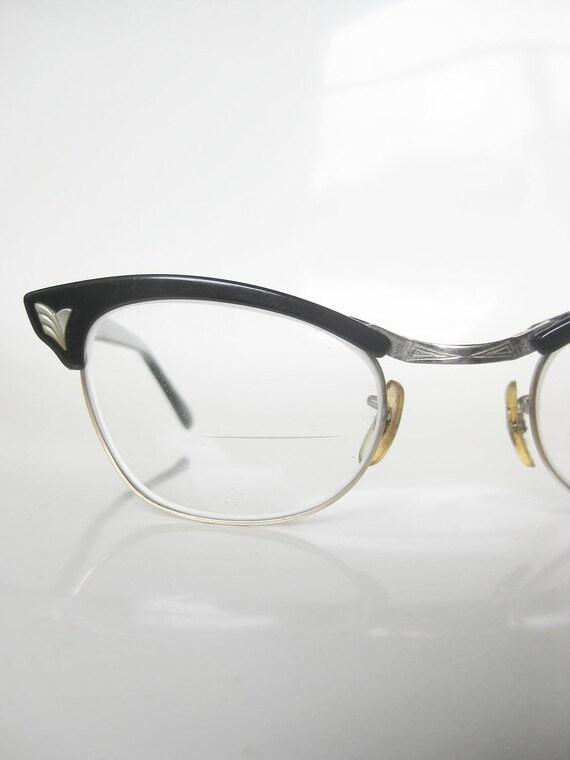 Vintage 1950s Cat Eye HORN RIM Black Eyeglasses Glasses Indie HIPSTER Wing Cool Cat Rockabilly