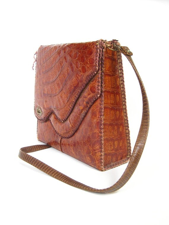 Vintage 1940s ALLIGATOR Handbag Purse Re-Use Destash 40s OLD HOLLYWOOD Glamour Crocodile Oxblood