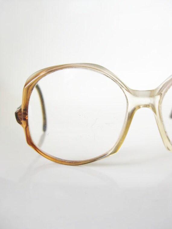 Vintage DIANE VON FURSTENBURG Eyeglasses 1970s Sunglasses Amber Oversized New Wave Womens Ladies 70s