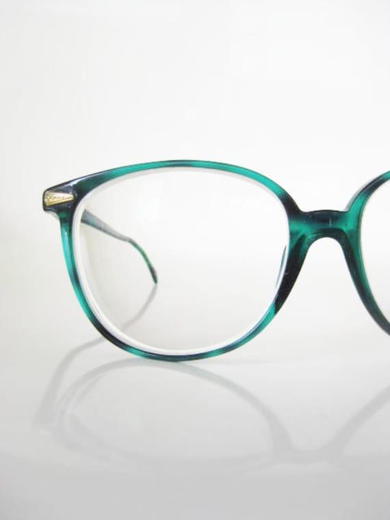 Vintage EMERALD Eyeglasses Oversized 1980s Sunglasses 80s Womens GREEN Brass WAYFARER Indie Hipster Ladies