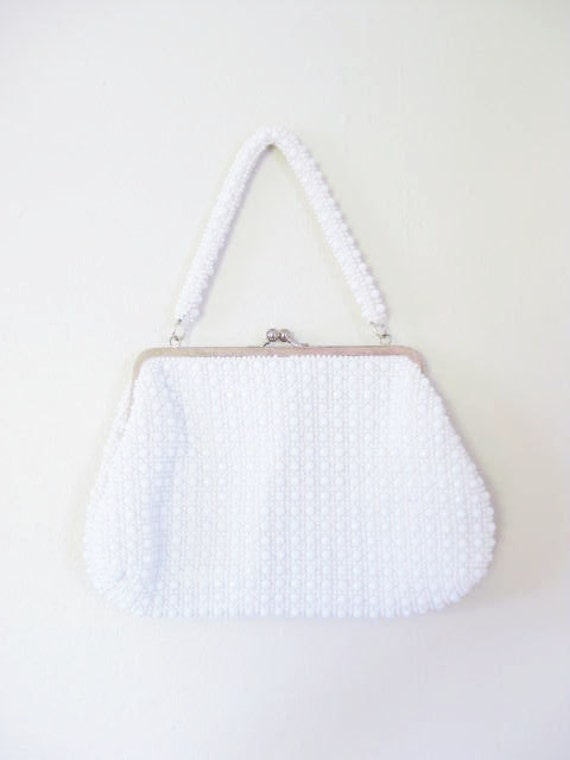 Vintage 1960s MAD MEN Purse 60s Handbag White BRASS Beaded Beads Sparkle Indie Hipster Sixties