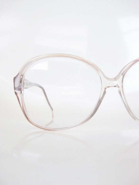 Vintage PEARL Eyeglasses Glasses 1980s 80s Safilo OVERSIZED Clear White Womens Sunglasses Eighties INDIE Hipster