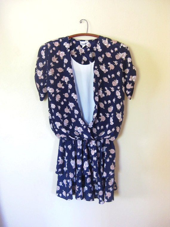 Vintage RUFFLED Extra Large PARTY Dress Xl Xxl FLORAL Ruffles Roses Navy Blue 1980s Eighties Grunge Indie Glam