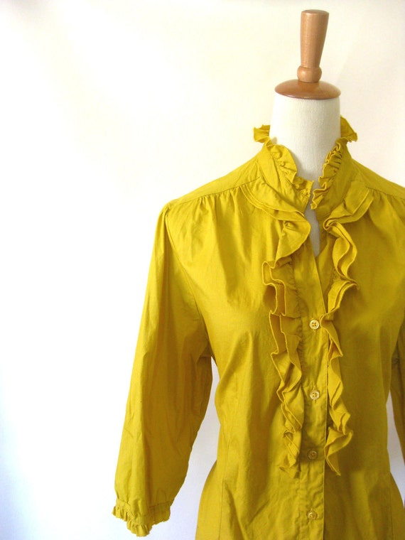 Vintage MUSTARD 1960s Ruffled Blouse PLUS SIZED Xxl Xxxl Full Figured Yellow Boho Ruffles