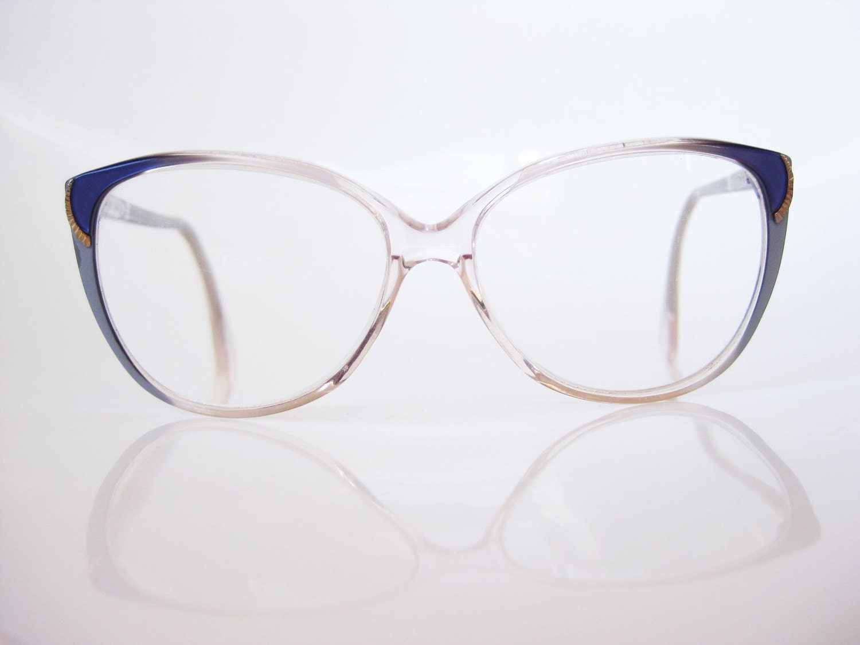 Glasses Frames Hipster : Vintage Oversized LESTAR Eyeglasses Hipster Cobalt Eyewear