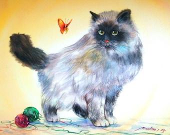 Free Shipping - Cat's Quiet Enjoyment (Original Watercolor Painting)