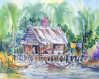 Free Shipping - Thai Rural Life (Original Watercolor Painting)