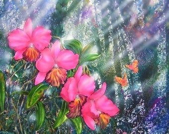Free Shipping - Floral  Pink Orchids In The Jungle Deep 2 (Original Watercolor Painting 30 x 22 Inches)