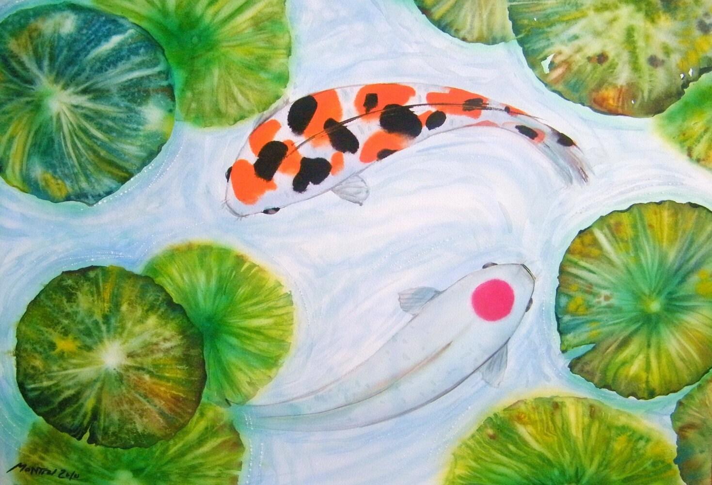 Free shipping koi in lotus pond original watercolor for Koi fish pond lotus