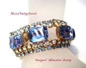 Sapphire  Bracelet Vintage Blue Rhinestone  Beauty   Large  Chunky Emerald Cut Stones