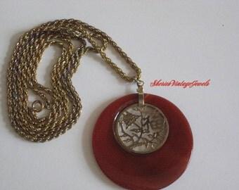 Vintage Lucite Tortoise  Necklace  Large Pendant Filigree Tree of Life inset