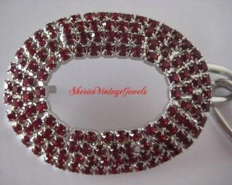 Vintage Red Rhinestone Belt Silver Tone Links
