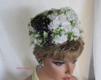 Vintage Designer Hat  Floral Pillbox  1960s  Breath of Spring Hat  Adorned with a Cluster of Purple Grapes