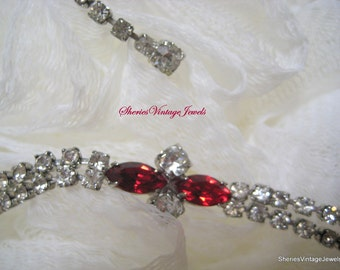 Vintage CORO 1950s FIRE and ICE Diamond Rhinestone Necklace Ruby Red Glitz