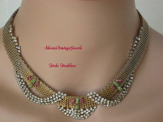 Vintage HOBE   Necklace   Pink Green Clear Rhinestones   Signed 1950s Beauty