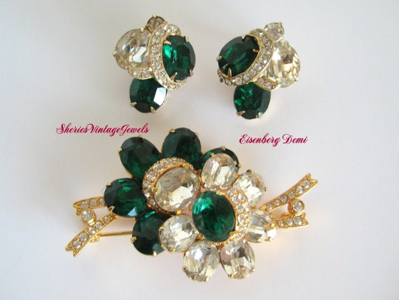 EISENBERG Brooch  and Earrings  Emerald  Green   and Clear  Rhinestone with Pave  circa 1940's