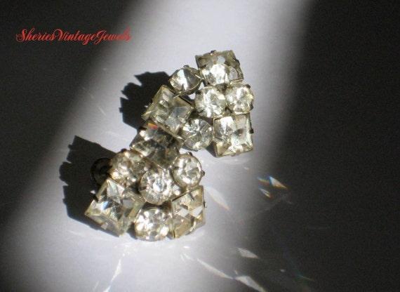 1930s Diamond Rhinestone Earrings Spectacular