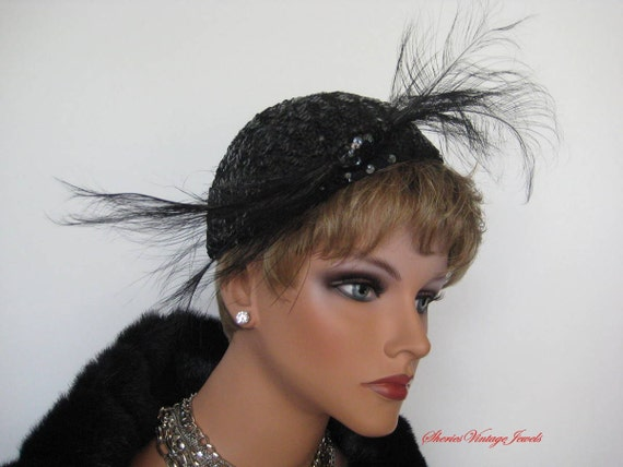 Vintage Black Sequined  Cocktail Hat  Pinup Girls  Old Hollywood Glamour  Dramatic Feather Sweep