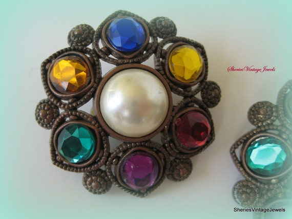 Vintage Art Deco Large Clip  Earrings  GOOD LIFE Theme  Red Purple Green Gold Citrine Drk Blue  Pearl