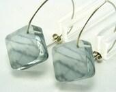 Green Fields Earrings Diamond Shape, Handmade Dangle Acrylic Drop, Fields of Yorkshire Special Offer Earrings