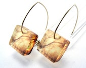 Acrylic Square Earrings, Enchanted Winter Golden Sunset with Brown Branches Handmade