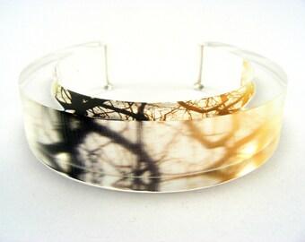 Plexiglass Bracelet Bangle , Winter Sunset Yellow Brown Tree Branches Medium