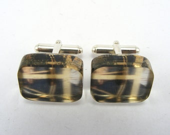 Cufflinks Abstract Black Yellow Pattern Oblong Shape Mens Cuff links, Acrylic Perspex and Sterling Silver
