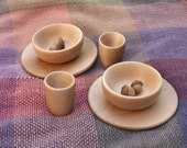 Set of 6 Hand Turned Maple Play Dishes, Toy Plates, Cups, Bowls Great for Play Kitchens, Waldorf Dishes