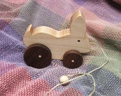 Wood Pull Toy - Hopping Bunny - A Classic Toy for Toddlers - Wooden Rabbit - Natural Wood Toy
