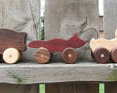 Wood Toy Animals - Woodland Animals - Set of Three Wooden Toys - Push Toys Rabbit Fox Bear