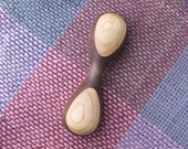RESERVED FOR LESLIE Handcrafted Wooden Rattle in Walnut and Cherry - Wood Toy, Hand-Turned Baby Rattle