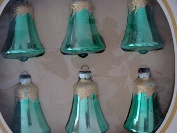 Antique Aqua Christmas Bell Ornaments Lot 22