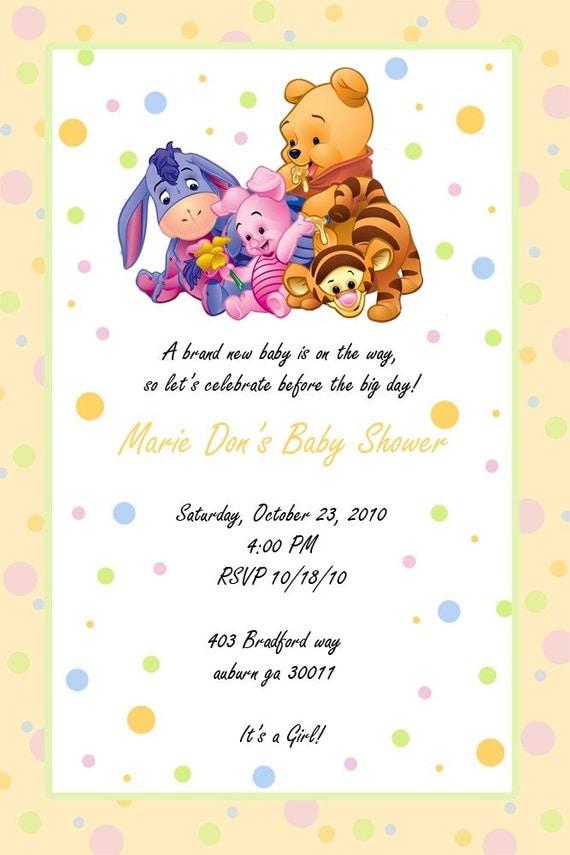 custom photo baby shower invitation winnie the pooh,