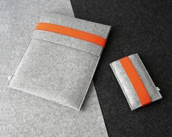 iPad Air sleeve and iPhone sleeve FELT DUETT wool felt set