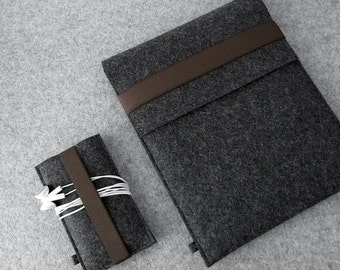 iPad Air and iPhone sleeve FELT DUETT wool felt set for iPad iPad Air and iPhone