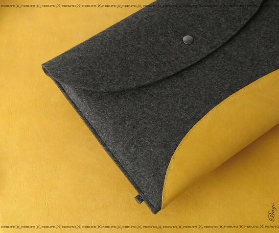 Macbook Air sleeve 11 or 13 inch MacBook Pro felt leather sleeve SPACE Sun Edition